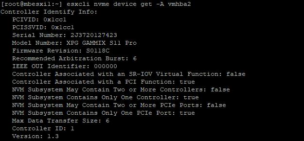 CLI response of NVMe vmhba identification.